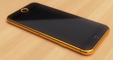 Золотой iPhone 6 с алмазами в виде логотипа Apple
